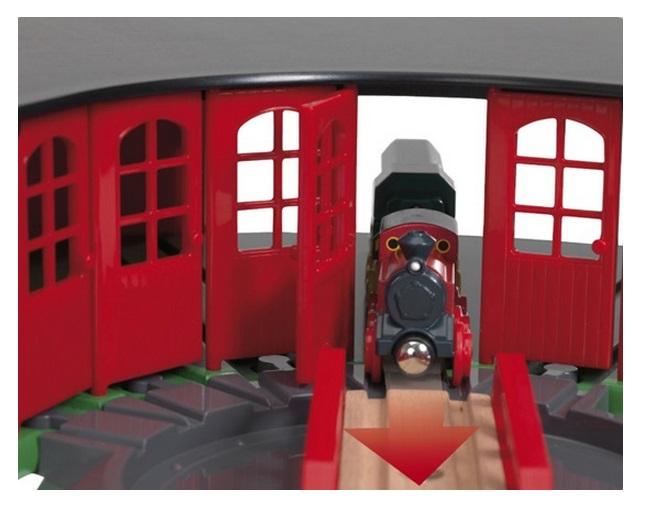 33736 Wielka parowozownia Brio z drzwiami i obrotnicą - Lokomotywownia