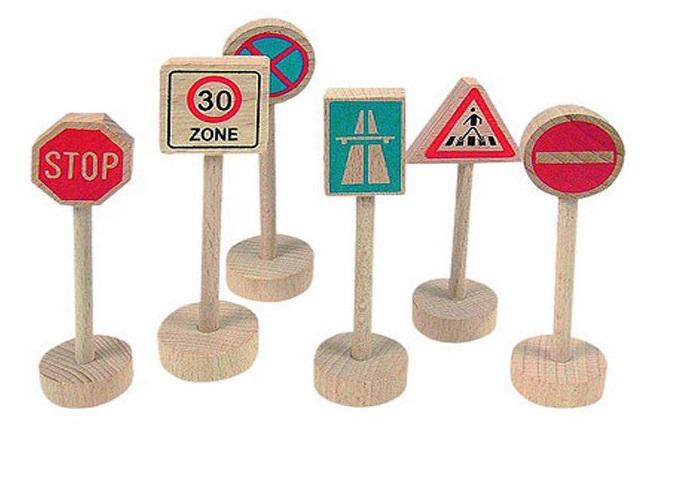 90575 Znaki drogowe drewniane zestaw 6 szt