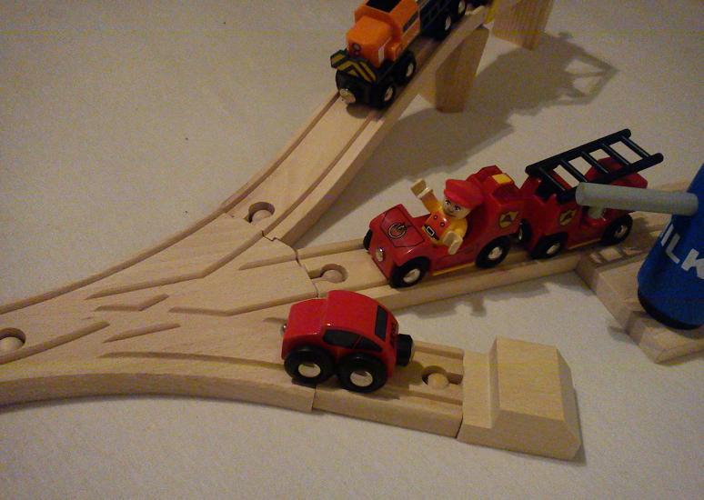 BJT103 Rozjazd potrójny - Zestaw - Tor drewniany