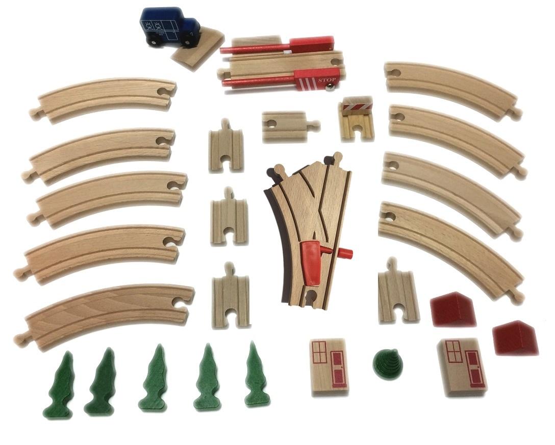 Zestaw torów z dekoracjami i rozjazdem mechanicznym