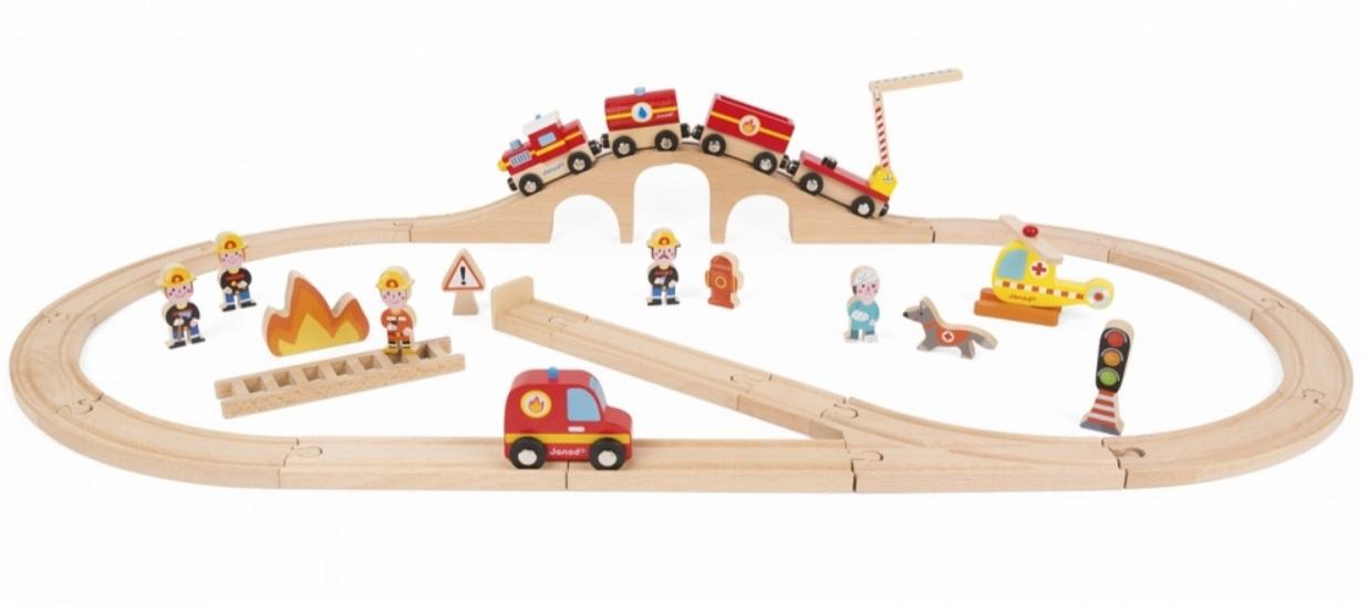J08523 Straż pożarna - zestaw kolejki drewnianej