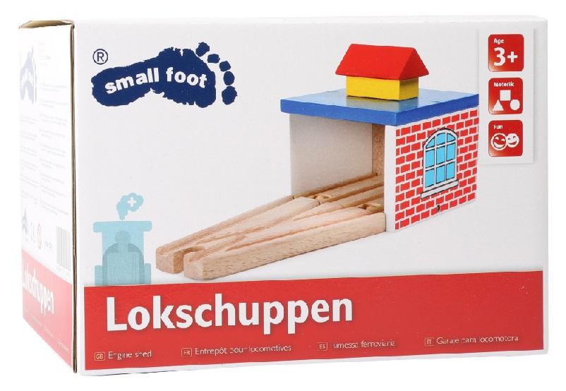 10269 Zajezdnia Small foot dla dwóch lokomotyw drewniana