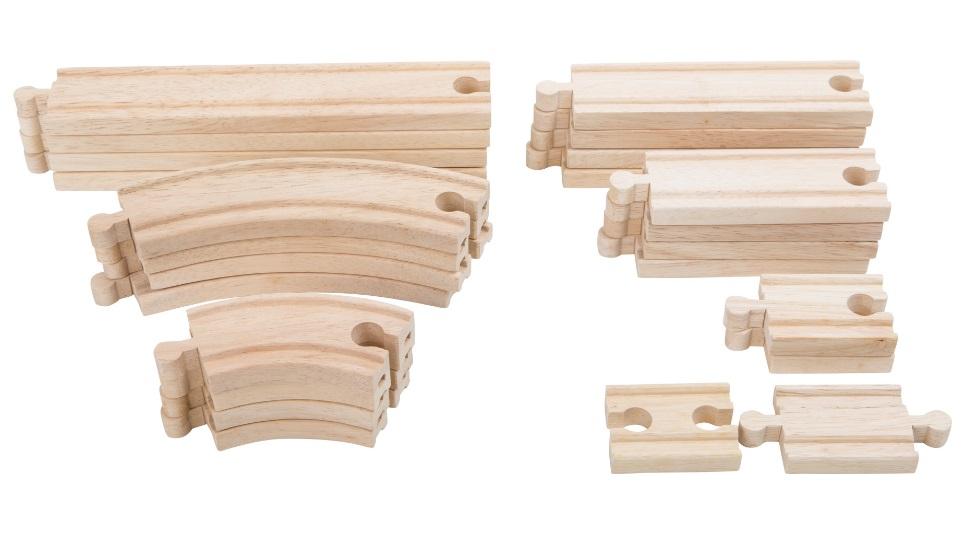 10257 Duży zestaw 24 torów drewnianych solidnych Small foot