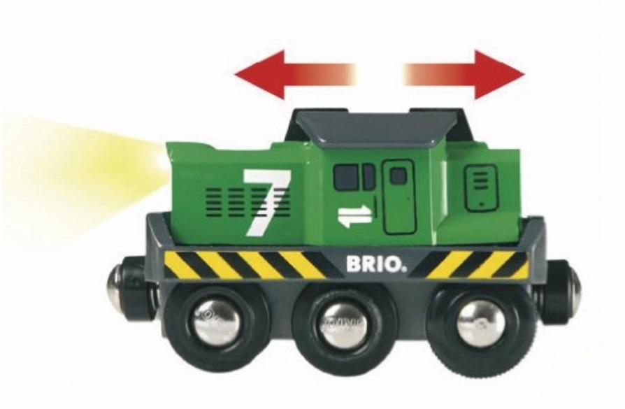 Zielona towarowa lokomotywa na baterie - Brio
