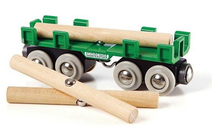 Duży wagon z drewnem do dźwigów magnetycznych - Brio