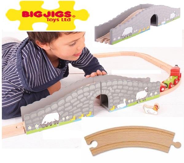 Mostek nad rzeczką farmera do torów drewnianych - Bigjigs
