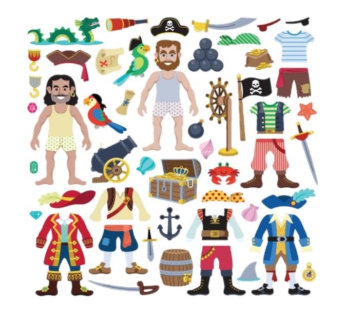Naklejki bezklejowe, wielokrotne, bardzo grube! Piraci - Melissa i Doug