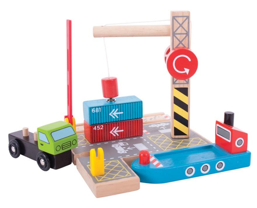Port przeładunkowy + statek + ciężarówka + ładunki + dźwig - Bigjigs