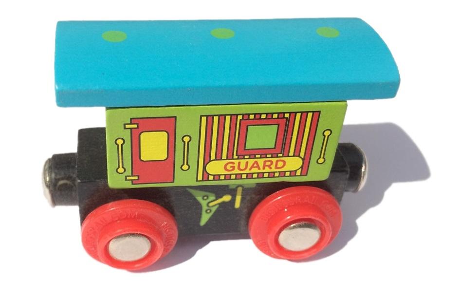Wagon z niebieskim daszkiem - do pociągu pasażerskiego - Bigjigs