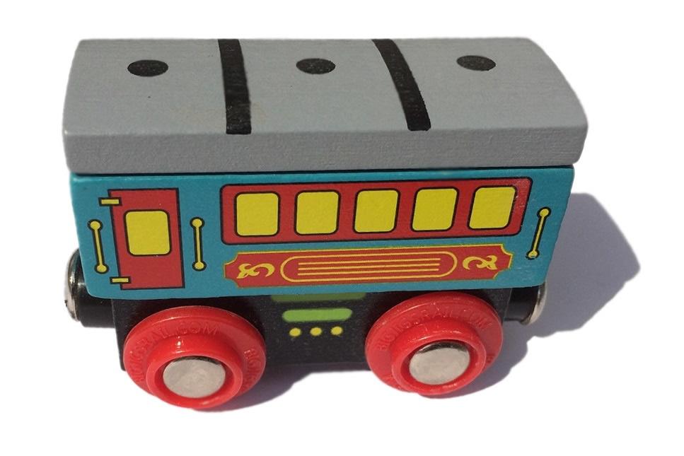 Wagon z szarym daszkiem - do pociągu pasażerskiego - Bigjigs