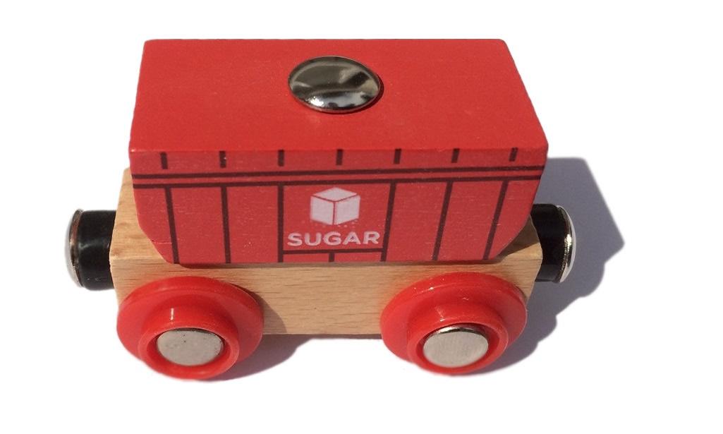 Wagonik z kontenerem cukru Nowy! - Bigjigs