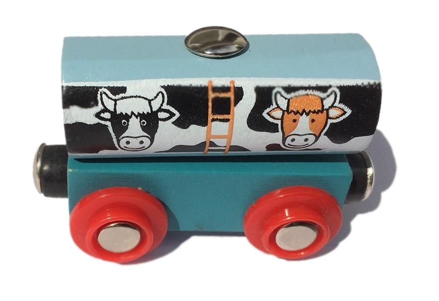 Wagonik z kontenerem mleka Nowy! - Bigjigs