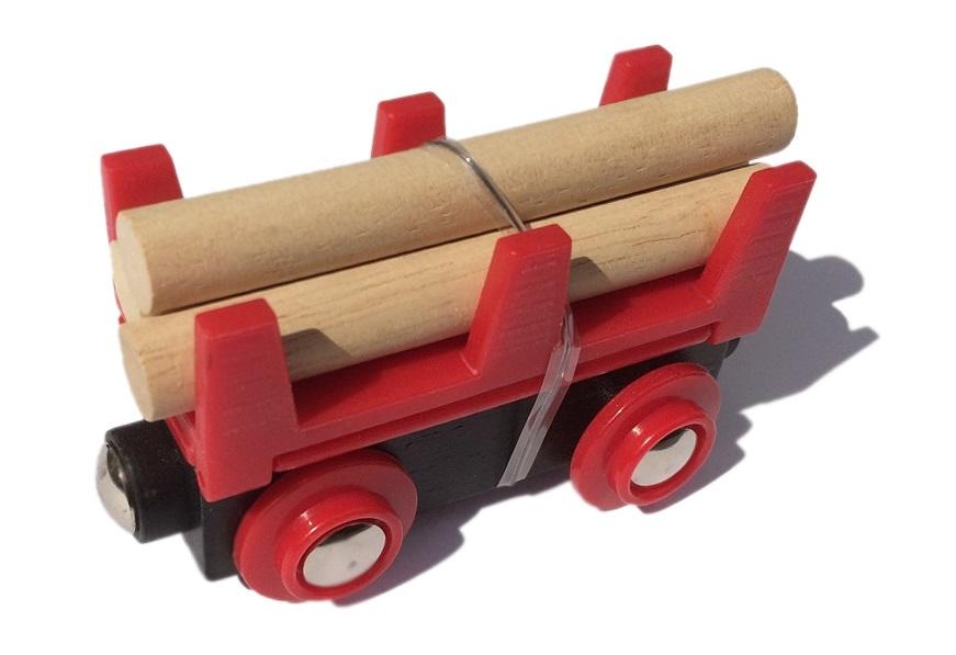 Wywrotka czerwona z drewnem do pociągu towarowego - Bigjigs