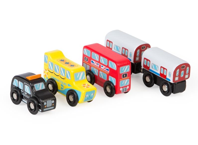 Pojazdy z Londynu Tidlo, drewniany zestaw - Bigjigs