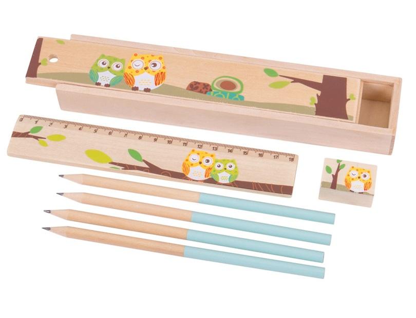 Piórnik z sówkami, drewniany zestaw - Bigjigs