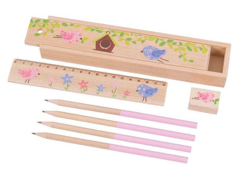 Piórnik z sówkami, drewniany dziewczęcy zestaw - Bigjigs