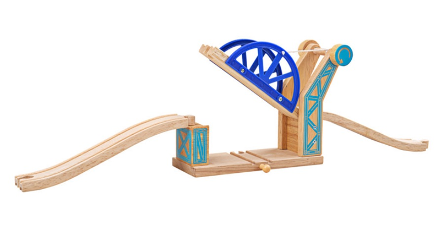 Niebieski zwodzony wiadukt kolejowy nad torami drewnianymi  - Bigjigs