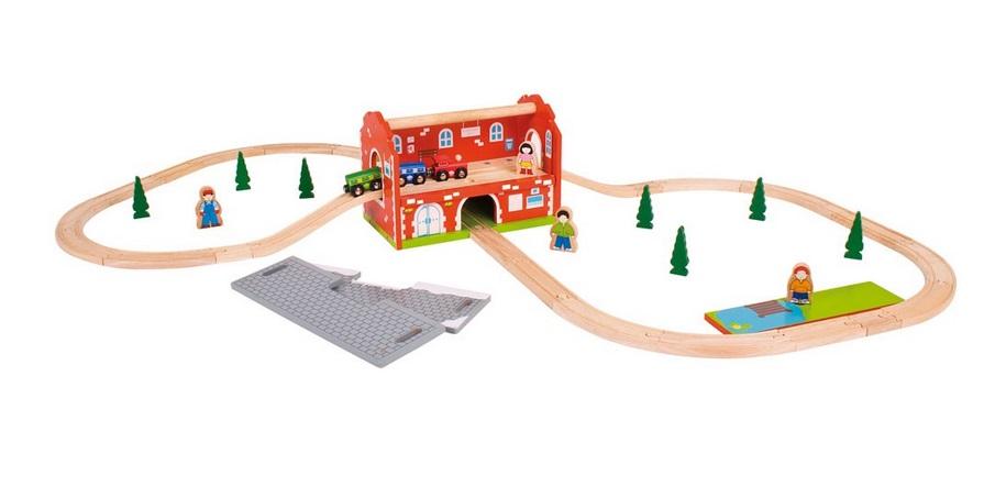 Dworzec - zestaw kolejki - zabawka przenośna - Bigjigs