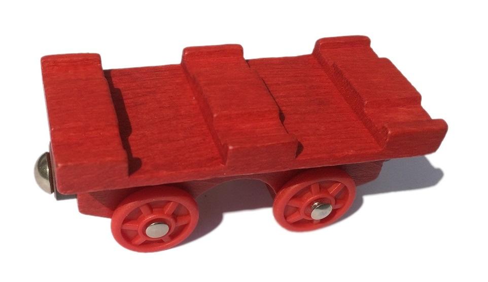 Czerwona platforma kolejowa - Kolejkowy Zakątek