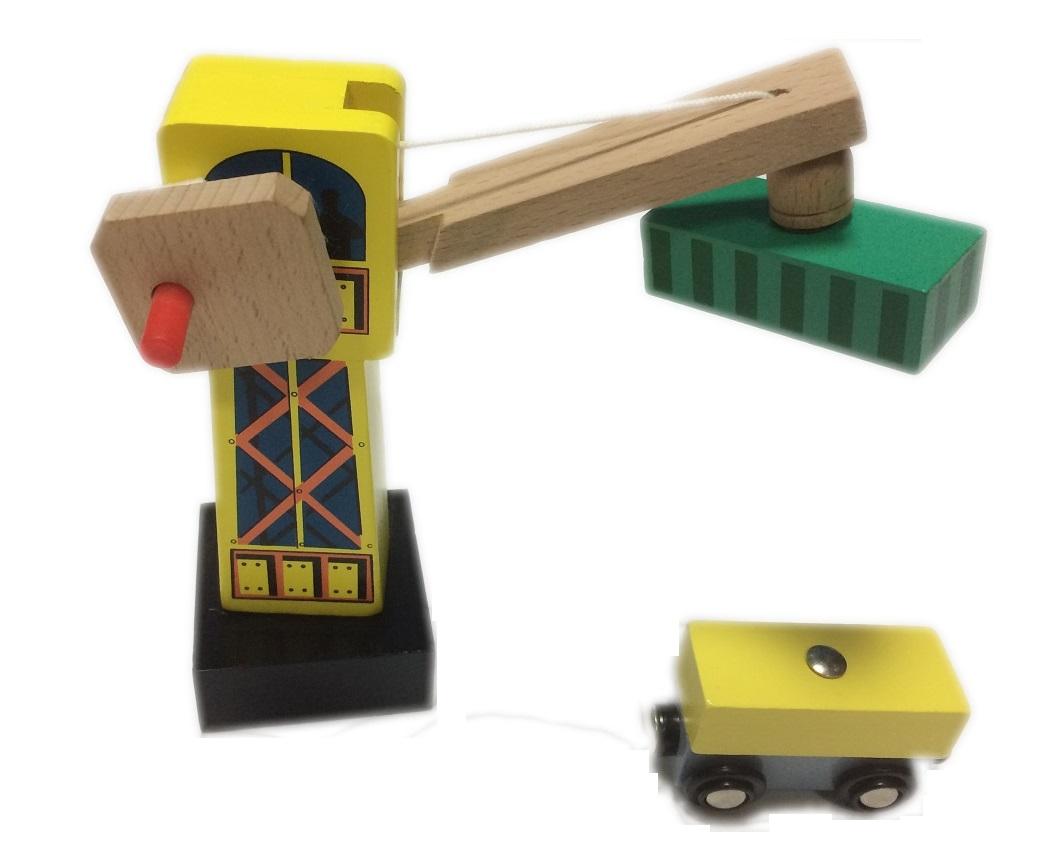 Dźwig przeładunkowy z wagonem - Kolejkowy Zakątek