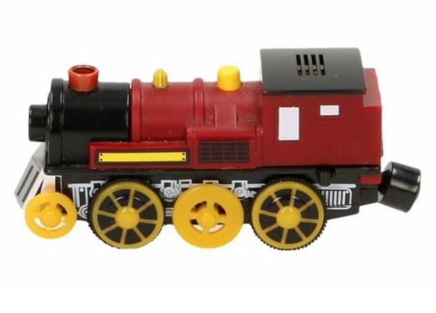 Pociąg górski - czerwona lokomotywa elektryczna - Maxim enterprise inc
