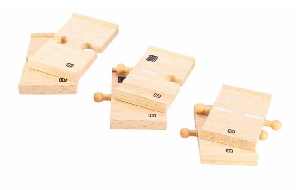 Łączniki do drogi drewnianej - zestaw (6) - Bigjigs