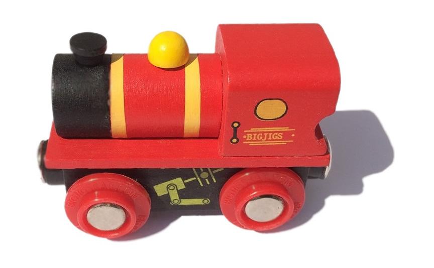 Mała, śliczna lokomotywa manewrowa, czerwona - Bigjigs
