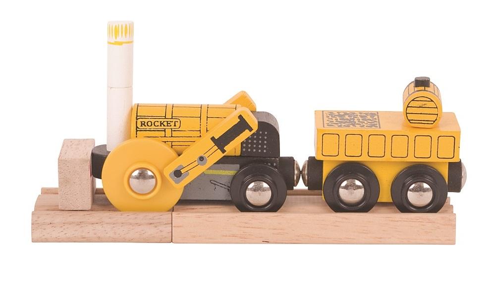 Rakieta - drewniana lokomotywa z wagonem - Bigjigs